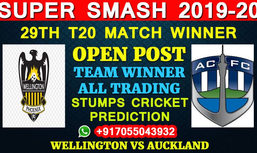 29TH T20 Match, Super Smash 2019-20: Wellington vs Auckland, Full Prediction & Tips