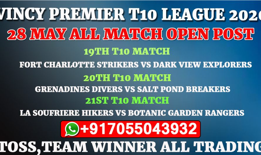 Vincy Premier T10 League 2020: 28th May All Match,Full Prediction & Tips
