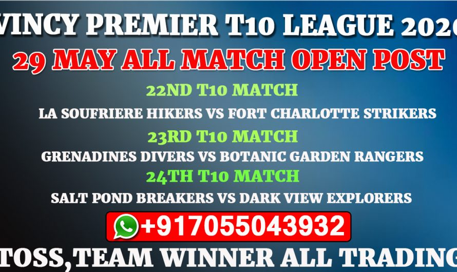 Vincy Premier T10 League 2020: 29th May All Match, Full Prediction & Tips